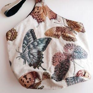 Vintage Tapestry Butterfly Hobo Bag